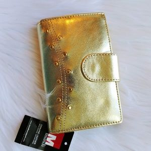 NWT Mundi Gold Leather Wallet
